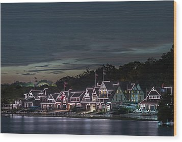 Boathouse Row Philly Pa Night Wood Print