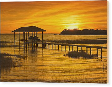 Boathouse Sunset Wood Print by Rich Leighton