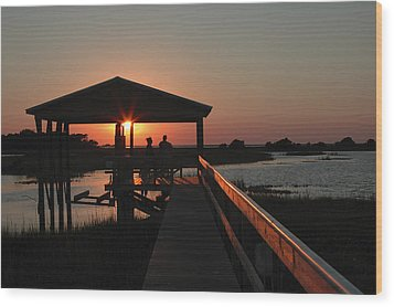 Boathouse Sunset Wood Print by Stacey Lynn Payne
