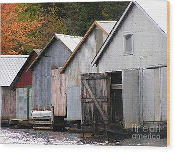 Boathouses Wood Print by Li Newton