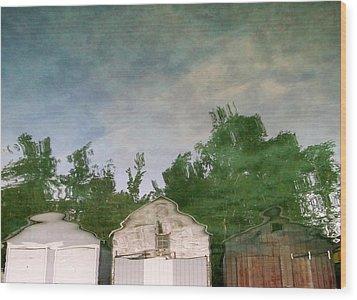 Boathouses With Sky And Trees Wood Print by Michelle Calkins