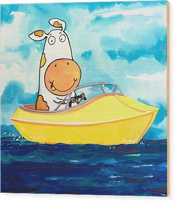 Boating Cow Wood Print by Scott Nelson