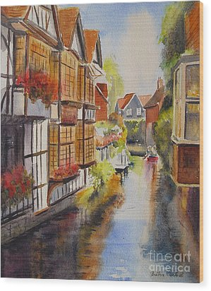 Wood Print featuring the painting Boating In Canterbury by Beatrice Cloake