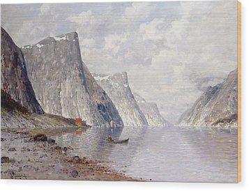 Boating On A Norwegian Fjord Wood Print by Johann II Jungblut