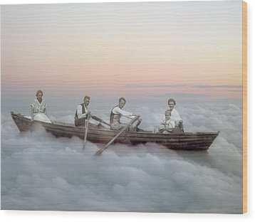 Boating On Clouds Wood Print by Martina Rall