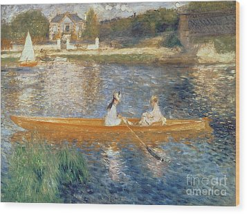 Boating On The Seine Wood Print by Pierre Auguste Renoir