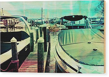 Wood Print featuring the photograph Boats And Dock by Susan Stone