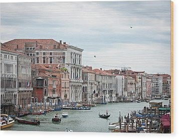 Boats And Gondolas In Grand Canal Wood Print by AlexandraR