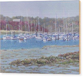 Wood Print featuring the painting Boats At Hamble Marina by Martin Davey