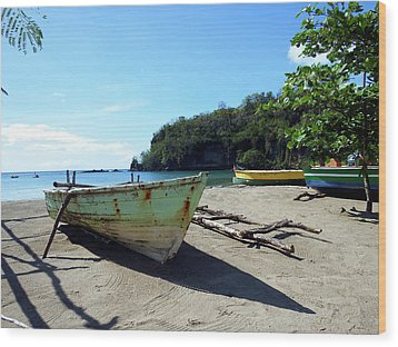 Wood Print featuring the photograph Boats At La Soufriere, St. Lucia by Kurt Van Wagner