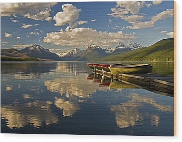 Boats At Lake Mcdonald Wood Print