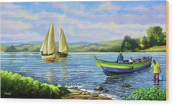 Wood Print featuring the painting Boats At Lake Victoria by Anthony Mwangi