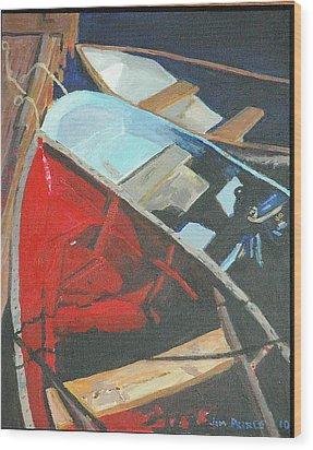 Boats At The Dock Wood Print by Jim Peirce