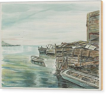 Boats At The Dock Wood Print by Samuel Showman