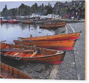 Boats At Windermere Wood Print