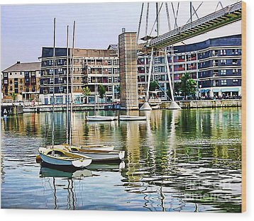 Wood Print featuring the photograph Boats Becalmed Rvd by Jack Torcello