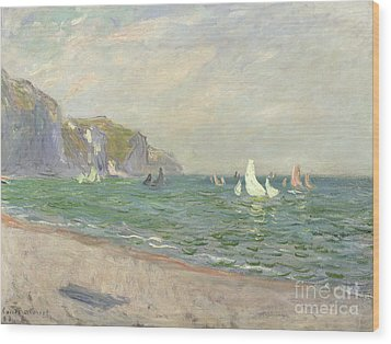 Boats Below The Cliffs At Pourville Wood Print by Claude Monet