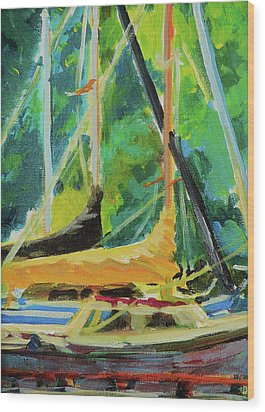 Boats Docked In The Morning Wood Print by Margaret  Plumb