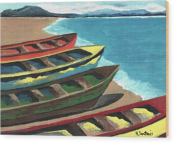 Boats In A Row Wood Print by Kathleen Sartoris