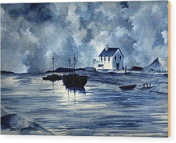 Boats In Blue Wood Print by Michael Vigliotti