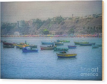 Wood Print featuring the photograph Boats In Blue Twilight - Lima, Peru by Mary Machare
