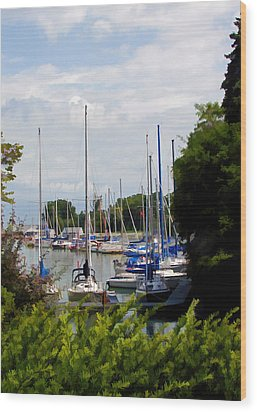 Boats In Harbour Wood Print by Art Tilley
