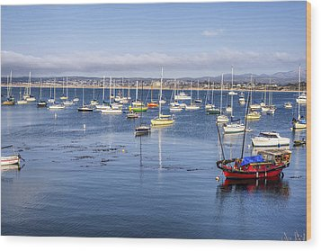 Boats In Monterey Bay Wood Print