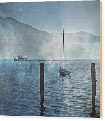Boats In The Fog Wood Print by Joana Kruse