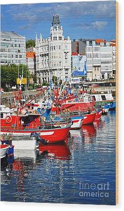 Boats In The Harbor - La Coruna Wood Print