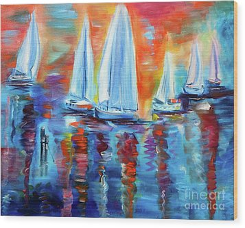 Boats In The Sunset Wood Print
