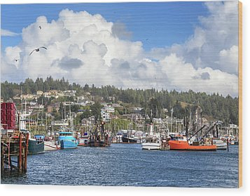 Wood Print featuring the photograph Boats In Yaquina Bay by James Eddy