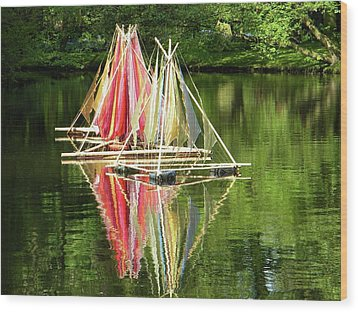 Wood Print featuring the photograph Boats Landscape by Manuela Constantin
