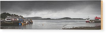 Boats Moored In The Harbor Oban Wood Print by John Short