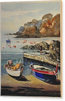 Boats Of Calella Spain Wood Print