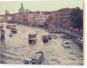 Wood Print featuring the photograph Boats Of Venice by Brad Scott