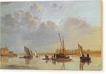Boats On A River Wood Print