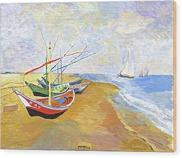 Wood Print featuring the painting Boats On The Beach At Saintes-maries After Van Gogh by Rodney Campbell