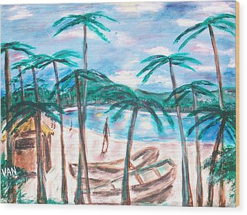 Boats On The Beach Wood Print by Van Winslow