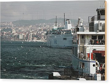 Boats On The Bosphorus Wood Print by John Rizzuto