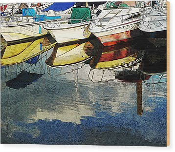 Boats Reflected - Poster     1st Place Award At Uconn Art Show  Wood Print by Margie Avellino