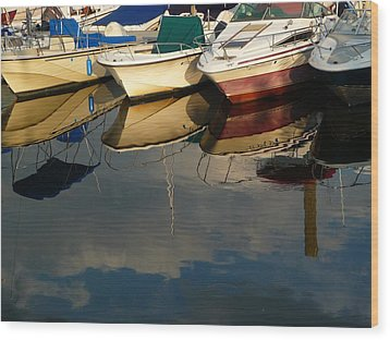 Boats Reflected Wood Print by Margie Avellino