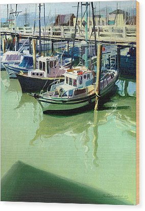 Wood Print featuring the painting Boats by Sergey Zhiboedov