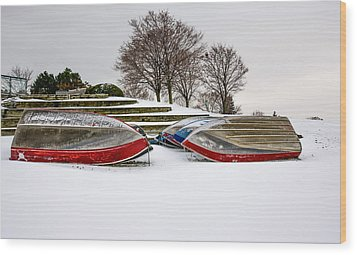 Boats Waiting On Spring Wood Print