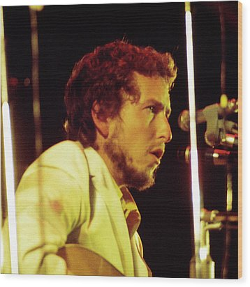 Wood Print featuring the photograph Bob Dylan 1969 Isle Of Wight No3 -square by Chris Walter
