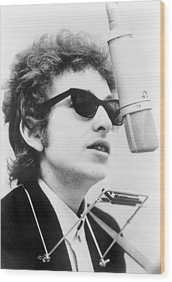 Bob Dylan B. 1941 With Harmonica Wood Print by Everett