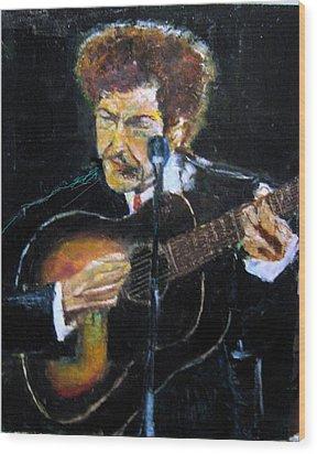 Bob Dylan Plays Guitar Wood Print by Udi Peled