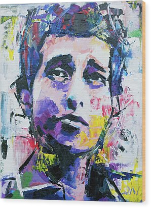 Wood Print featuring the painting Bob Dylan Portrait by Richard Day