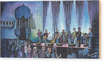 Wood Print featuring the painting Bob Dylan Tribute Show by David Sockrider