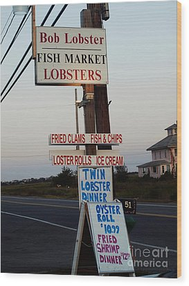 Bob Lobster Fish Market Wood Print