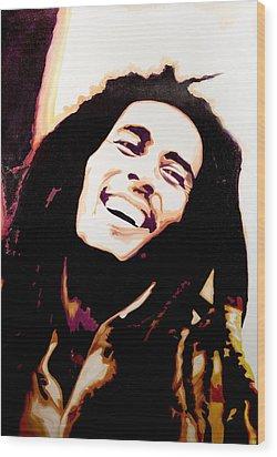 Bob Marley - Orange Wood Print by Jocelyn Passeron